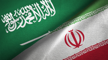Iran and Saudi Arabia flags together relations textile cloth fabric texture Imagens