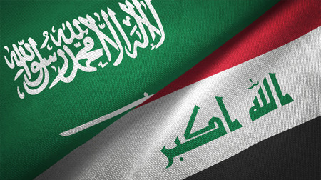 Iraq and Saudi Arabia flags together relations textile cloth fabric texture