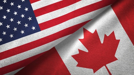 United States and Canada flags together textile cloth, fabric texture
