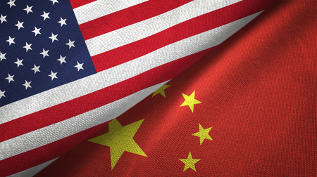 United States and China flags together textile cloth, fabric texture