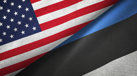 United States and Estonia flags together textile cloth, fabric texture 写真素材