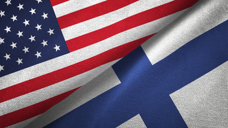 United States and Finland flags together textile cloth, fabric texture