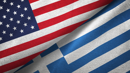 United States and Greece flags together textile cloth, fabric texture
