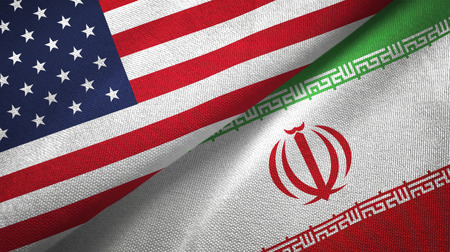 United States and Iran flags together textile cloth, fabric texture