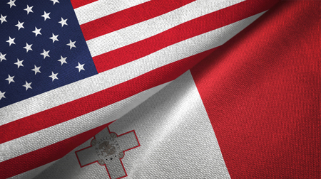 United States and Malta flags together textile cloth, fabric texture