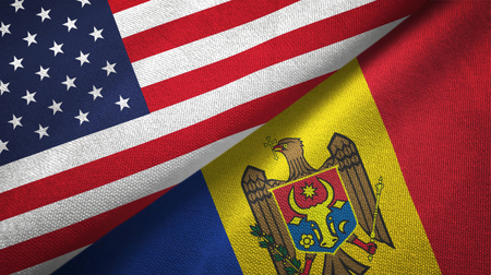 United States and Moldova flags together textile cloth, fabric texture