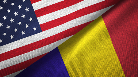 United States and Romania two flags textile cloth, fabric texture Imagens