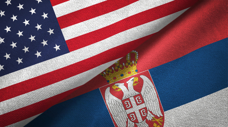 United States and Serbia two flags textile cloth, fabric texture Imagens