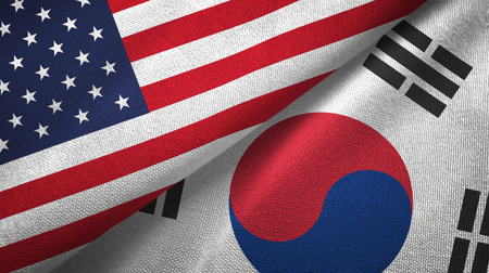 United States and South Korea two flags textile cloth, fabric texture Stock Photo