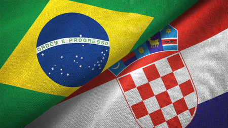 Croatia and Brazil flags together relations textile cloth fabric texture