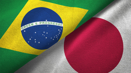 Japan and Brazil flags together relations textile cloth fabric texture