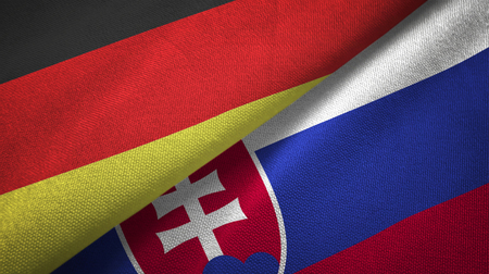 Germany and Slovakia flags together relations textile cloth, fabric texture