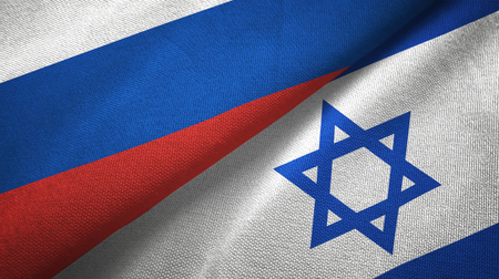 Russia and Israel flags together relations textile cloth, fabric texture
