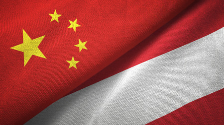 China and Austria flags together relations textile cloth, fabric texture Banque d'images - 116670633