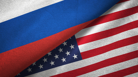 Russia and United States flags together relations textile cloth, fabric texture 版權商用圖片