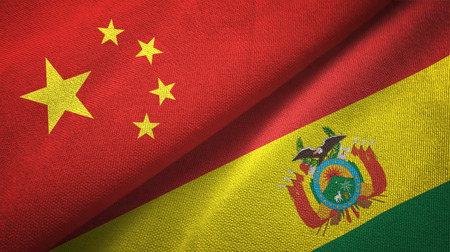 China and Bolivia flags together relations textile cloth, fabric texture