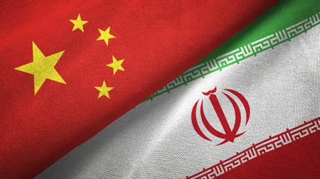 China and Iran flags together relations textile cloth, fabric texture
