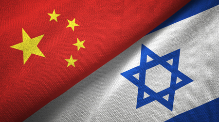 China and Israel flags together relations textile cloth, fabric texture