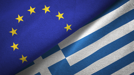 European Union and Greece flags together relations textile cloth, fabric texture Foto de archivo