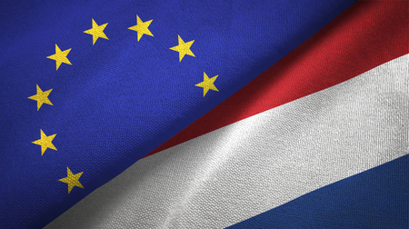 European Union and Netherlands flags together relations textile cloth, fabric texture Stock Photo - 116671196