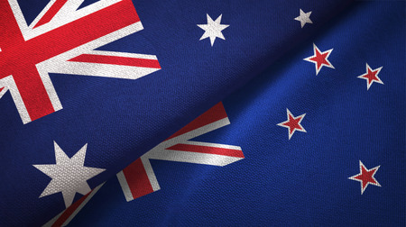 Australia and New Zealand flags together relations textile cloth, fabric texture