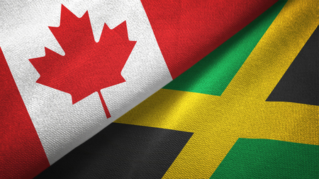 Canada and Jamaica flags together relations textile cloth, fabric texture