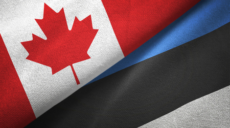 Canada and Estonia flags together relations textile cloth, fabric texture Фото со стока