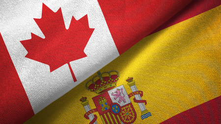 Canada and Spain flags together relations textile cloth, fabric texture