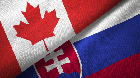 Canada and Slovakia textured flags