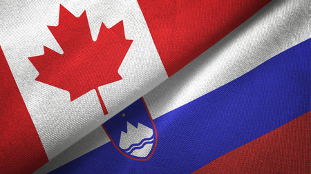 Canada and Slovenia textured flags