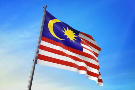 Malaysia  flag waving against blue sky