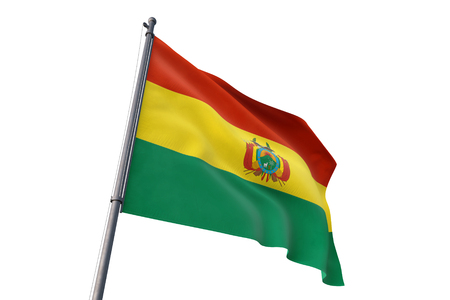 Bolivia flag waving isolated on white background