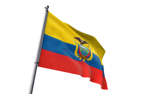 Ecuador  flag waving isolated on white background Stock fotó