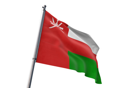 Oman  flag waving isolated on white background