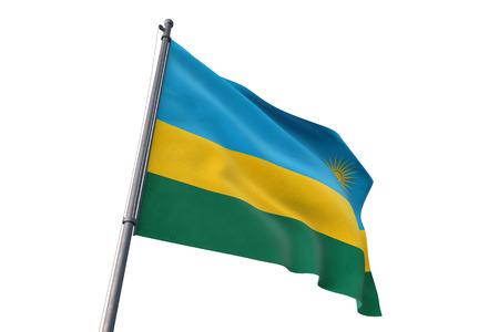 Rwanda  flag waving isolated on white background