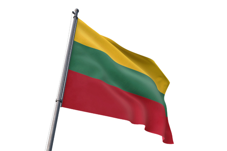 Lithuania flag waving isolated on white background