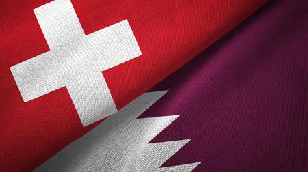 Switzerland and Qatar   textured flags Stock Photo