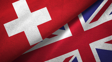 Switzerland and United Kingdom textured flags