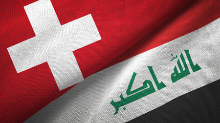 Switzerland and Iraq  textured flags Banque d'images