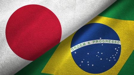 Japan and Brazil textured flags