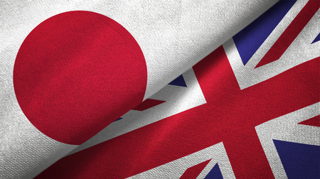 Japan and United Kingdom  textured flags 免版税图像