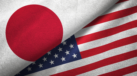 Japan and United States  textured flags