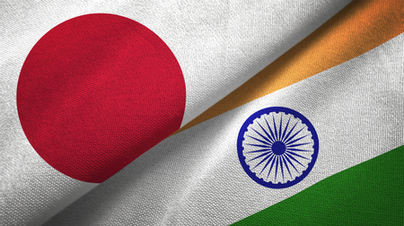 Japan and India  textured flags