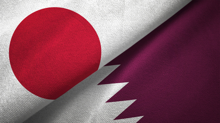 Japan and Qatar textured flags Standard-Bild
