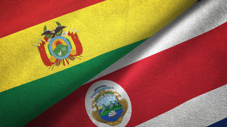 Bolivia and Costa Rica flags together relations textile cloth, fabric texture