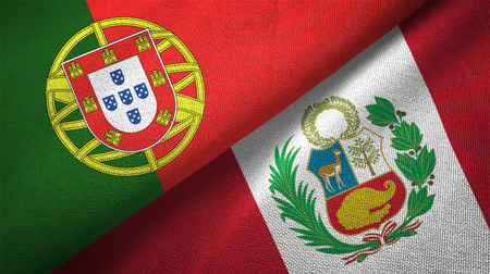 Portugal and Peru flags together relations textile cloth, fabric texture Imagens