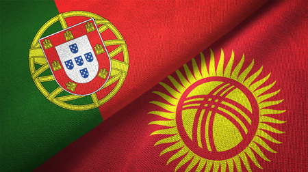 Portugal and Kyrgyzstan flags together relations textile cloth, fabric texture Imagens