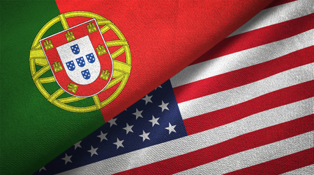 Portugal and United States flags together relations textile cloth, fabric texture Imagens