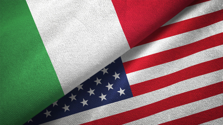 Italy and United States flags together relations textile cloth, fabric texture