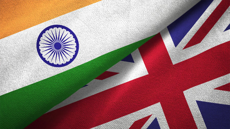 India and United Kingdom flags together relations textile cloth, fabric texture